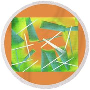 Abstract - Saws Round Beach Towel by Lenore Senior