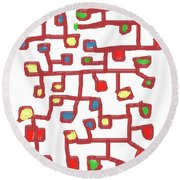 Abstract Scattered Nodes Round Beach Towel
