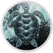 Abstract Sea Turtle Round Beach Towel
