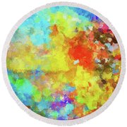 Round Beach Towel featuring the painting Abstract Seascape Painting With Vivid Colors by Ayse Deniz