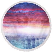 Abstract Seascape Sunset Painting 35a Round Beach Towel