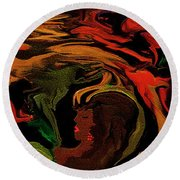 Abstract Shall We Awaken Her Round Beach Towel by Sherri's Of Palm Springs