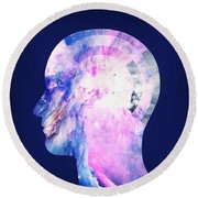 Abstract Space Universe  Galaxy Face Silhouette  Round Beach Towel