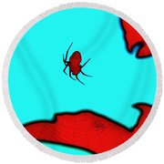 Round Beach Towel featuring the photograph Abstract Spider by Linda Hollis