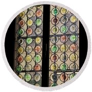 Abstract Stained Glass Round Beach Towel by Patricia Hofmeester