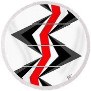 Round Beach Towel featuring the digital art Abstract Stairs by John Wills
