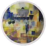 Round Beach Towel featuring the painting Abstract Stroll by Raymond Doward