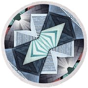 Abstract Structural Collage Round Beach Towel