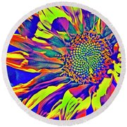 Abstract Sunflower Fantasy Round Beach Towel