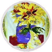 Abstract Sunflower Round Beach Towel by Lynda Cookson
