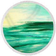 Abstract Sunset In Blue And Green Round Beach Towel
