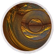 Abstract Sunset Round Beach Towel by Lyle Hatch