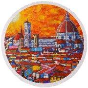Abstract Sunset Over Duomo In Florence Italy Round Beach Towel