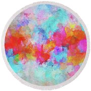 Round Beach Towel featuring the painting Abstract Sunset Painting With Colorful Clouds Over The Ocean by Ayse Deniz