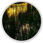 Abstract Sunset Reflection Round Beach Towel