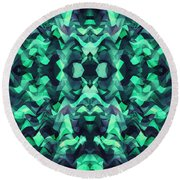 Abstract Surreal Chaos Theory In Modern Poison Turquoise Green Round Beach Towel