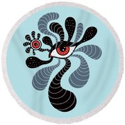 Abstract Surreal Double Red Eye Round Beach Towel