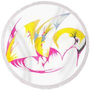 Abstract Swan Round Beach Towel
