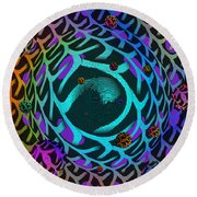 Round Beach Towel featuring the digital art Abstract - The Fabric Of Life by Glenn McCarthy Art and Photography