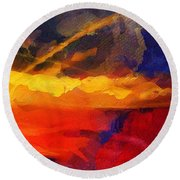 Abstract - Throw  Round Beach Towel