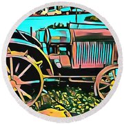 Round Beach Towel featuring the digital art Abstract Tractor Los Olivos California by Floyd Snyder