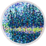 Round Beach Towel featuring the painting Abstract Trees Impressionist Painting by Cristina Stefan