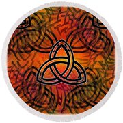 Round Beach Towel featuring the digital art Abstract - Trinity by Glenn McCarthy Art and Photography