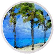 Abstract Tropical Palm Beach Round Beach Towel by Anthony Fishburne