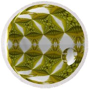 Abstract Tunnel Of Yellow Grapes  Round Beach Towel