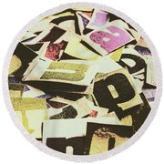 Abstract Typescript Round Beach Towel