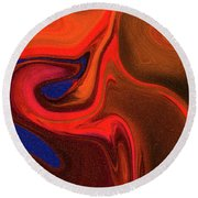 Abstract Union 2 Vertical Fire Round Beach Towel