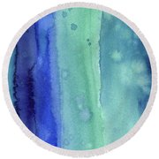 Abstract Vertical Watercolor Aqua Stripes Round Beach Towel