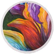 Abstract Vibrant Flowers Round Beach Towel