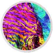 Round Beach Towel featuring the photograph Abstract Vibrant Tropical Fish Discus 20170910 Square by Wingsdomain Art and Photography