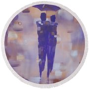Round Beach Towel featuring the painting Abstract Walk In The Rain by Raymond Doward