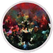Round Beach Towel featuring the painting Abstract Wall Art In Dark Colors by Ayse Deniz