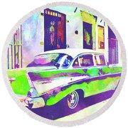 Abstract Watercolor - Havana Cuba Classic Cadillac II Round Beach Towel