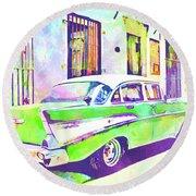 Abstract Watercolor - Havana Cuba Classic Cadillac IIi Round Beach Towel