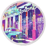 Abstract Watercolor - Havana Cuba Classic Car II Round Beach Towel