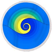 Abstract Wave In The Sunlight  Round Beach Towel