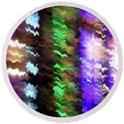 Abstract Waves Of Emotion #0609_24 Round Beach Towel by Barbara Tristan