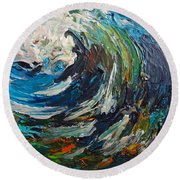 Abstract Wild Wave  Round Beach Towel