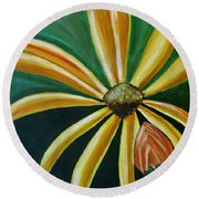 Abstract Yellow Sunflower Art Floral Painting Round Beach Towel