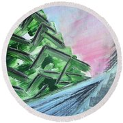 Abstract Winter Landscape Round Beach Towel by Tamara Savchenko