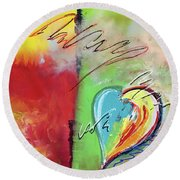 Abstract With Heart Round Beach Towel