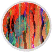 Abstract With Lines And Waves Round Beach Towel by Desiree Paquette