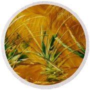 Abstract Yellow, Green Fields   Round Beach Towel