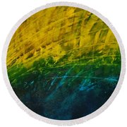 Abstract Yellow, Green With Dark Blue.   Round Beach Towel