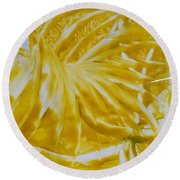 Abstract Yellow  Round Beach Towel