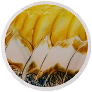 Abstract Yellow, White Waves And Sails Round Beach Towel